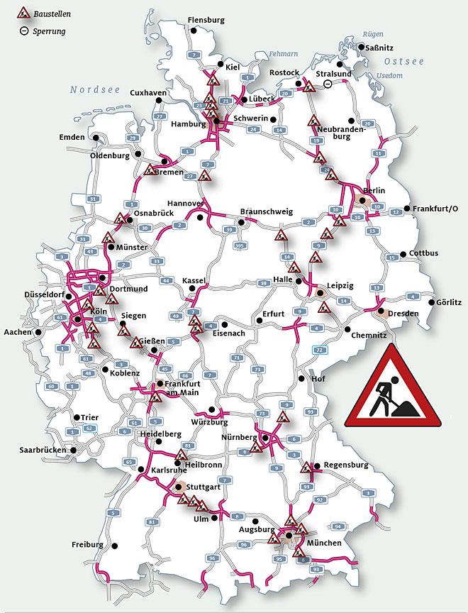 Karte Baustellen Bereiche Auf Autobahnen 2018 Autokiste
