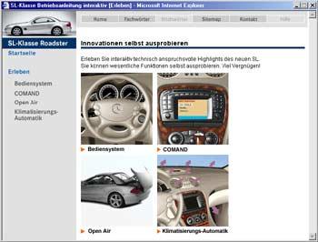 die neue mercedes-benz sl-klasse: interaktive betriebsanleitung im