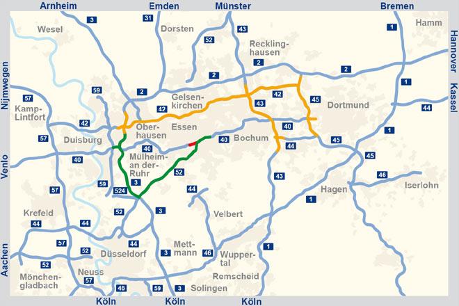 autobahn nrw karte Fotostrecke: Vollsperung der A40 bei Essen im Sommer 2012 (Bild 1  autobahn nrw karte